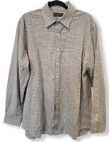 Ralph Lauren Purple Label Men's Gray Plaid Long Sleeve Button Front Shirt XL euc