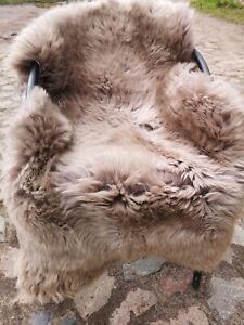 Top Eco Lambskin Sheepskin Skins Taupe New L - XXL