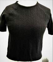 Womens Ladies Short sleeved Chevron Knitted Casual Top NEW UK Sizes 6-8-10-12-14