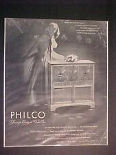 Raro Antiguo ~ Philco Hogar Radio Fonógrafo Arte Estampado Anuncio ~ Original