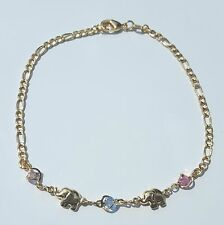 """Elephant Bracelet 7""""1/2 inch Long Gold Filled Colored Stones Good Luck Animal"""