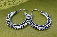 Bauchtanz! MASSIVE Ohrringe Creolen aus Nepal Tibet SILBER Handarbeit!