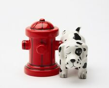DALMATION DOG PEE ON FIRE HYDRANT CERAMIC SALT & PEPPER SHAKERS SET.ADORABLE