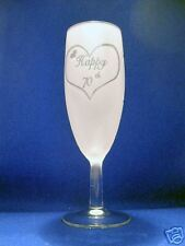 B'day Flute with Happy 70th & a Heart Sand Etched on it