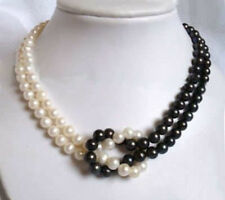 2Strands Genuine 8-9mm Natural Black & White Akoya Cultured Pearl Necklace