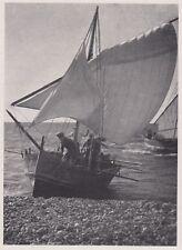 D4248 Pescatori a vele gonfie - Stampa d'epoca - 1942 vintage print
