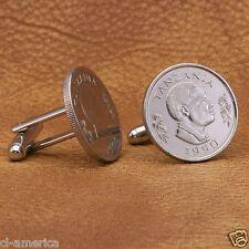 Tanzania President Mwinyi Coin Cufflinks, 50 Senti Silver Tone