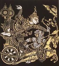 Rama Hanuman Black Thai Silk Paintings Ramayana Poster Print Home Decor Handmade