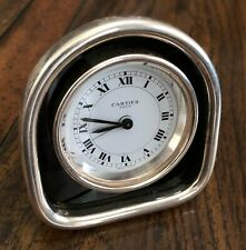 CARTIER ALARM Paris Chapell Round Travel Clock White Metal 80mm 1979