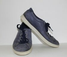 Ecco Soft Leather Blue Soft Sneaker Women's Size 38 SHIPS FREE!