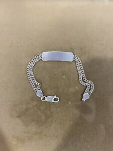 "925 Sterling Silver Girls Boys Name ID 2 Strands Curb Cuban Bracelet 6.5"""