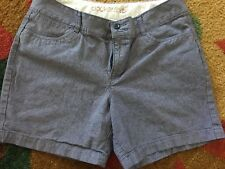 Dockers Blue Striped Shorts Sz 8 Small Damage In Stitching 82010