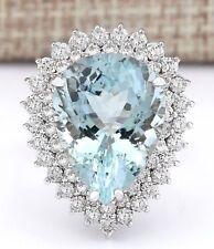 LUXURY 14.66 CTW AQUAMARINE DIAMOND RING, 14K WHITE GOLD OVER STERLING SILVER