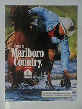 1994 Print Ad Marlboro Man Cigarettes ~ Western Cowboy Canteen in River Water