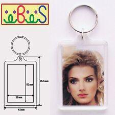 4x Blank Clear Acrylic Keyrings 50x35mm Photo Size Key Ring Plastic 92033