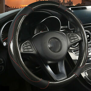 Black PU Leather Carbon Fiber Look Car Steering Wheel Cover Universal Fit 38cm
