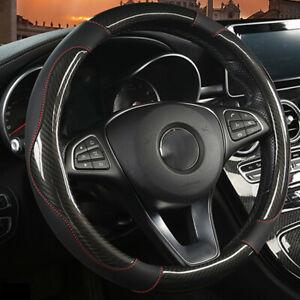 Black PU Leather Carbon Fiber Look Car Steering Wheel Cover Universal Fit 38cm