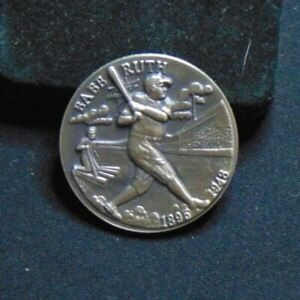 BABE RUTH NEW YORK YANKEES .925 STERLING SILVER COIN LONGINES SYMPHONETTE ROUND