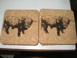 """Cork coaster - Scottish Highland Cattle - 3.75"""" - Lasered - Set of 6 - Ship Free"""