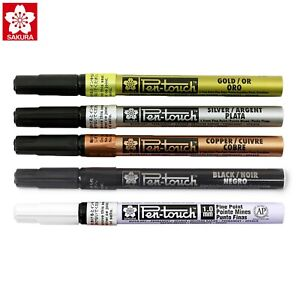 Sakura Pen-Touch Fine 1.0mm Permanent Marker | Arts Craft  | Pack of 5 Colours