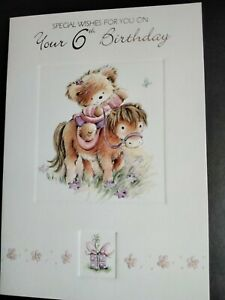 6th birthday card girl, daughter, sister, friend, grand daughter, niece
