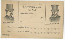 1892 Hats Adv Private Mailing Card with Prez Candidates Cleveland & Harrison