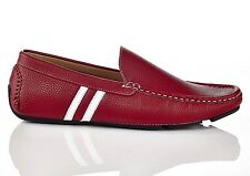 NEW SOLO Mens Bruno Casual Slip On Driving Loafers Red Shoes Mocc Slip On SZ 8.5
