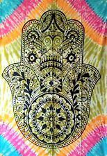 Hamsa Fatima Hand Wall Hanging Cotton Multi Color Tapestry Twin Bedspread Cotton