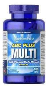 Puritan's Pride ABC Plus Multivitamin & Multi-Mineral Immune Formula 100 Tablets