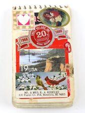 Vintage Pocket Notebook Full of Assorted Old Stamps Scrap Book Lot Arts Crafts
