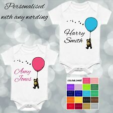 Personalised Winnie the Pooh with Balloon Baby Vest Baby Grow - Any Name