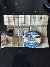 Antique Michigan 1931 Trout Resident Fishing License Button Pin w/ Paper License