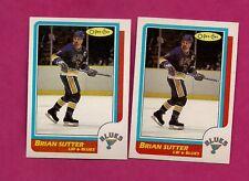 2 X 1986-87 OPC  # 72  BLUES BRIAN SUTTER NRMT CARD (INV# A208)