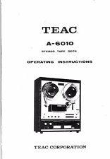 TEAC manuale di istruzioni user manual Owners Manual per a - 6010