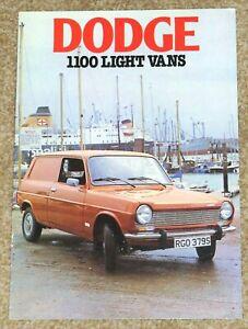 1977 DODGE 1100 VAN & PICK UP Sales Brochure (Simca 1100) - Excellent Condition!