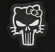 3D PVC GLOW PUNISHER SKULL GITD HELLO KITTY RUBBER TACTICAL MORALE VELCRO PATCH