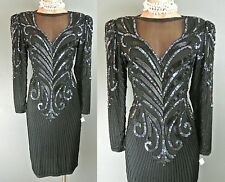 ❤️ Vintage 100% Silk Sequin Beaded Formal Dress 10 Black Party*1008 A.J. Bari