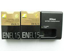 2 x EN-EL15 Battery & MH-25 Charger For Nikon D600 D7100 D800 D810 D7000 D750 V1