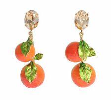 NEW $820 DOLCE & GABBANA Earring Gold Brass Orange Crystal Dangling Clip On