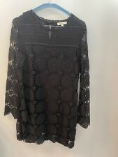 Black Cotton Crochet Style Dress Lined by Jeff Size 36 Good Condition