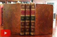 History of England by Cormick c.1795 tree-calf leather set x 3 books engraved