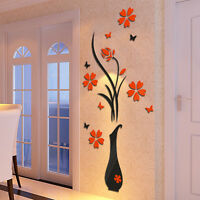3D Vase Removable Flower Tree Crystal Acrylic Decal Wall Sticker Home Room Decor