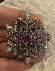 Snowflake Silver Toned Brooch Pin With Purple Stone