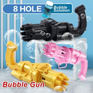 Gatling Bubble Machine 8-Hole Bubbler Maker Safe Cooling Fan Outdoor Kid Gift