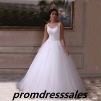 New Applique Lace Wedding Dress White/Ivory Tulle Garden Bridal Gown Size 4 6 8+