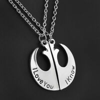 STAR WARS I LOVE YOU I KNOW HANS AND LEIA COUPLE NECKLACE TWO PART NECKLACES