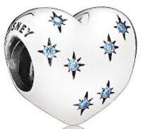 Authentic Pandora Bead Disney Cinderella Heart Charm Dream Wish Blue S925 ALE