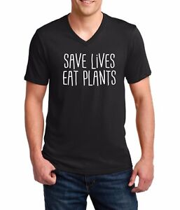 Men V-neck Save Lives Eat Plants Shirt Vegan Vegetarian Love For The Animals Tee