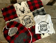 baby rag quilt gift set buffalo plaid hunting outdoors bib set