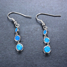 Exotic Three Oval Blue Opals Drop Dangle/Hook Earrings 10Kt White Gold Filled